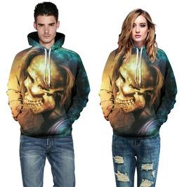 3 D Print Punk Skull Hooded Sweatshirt Men Women