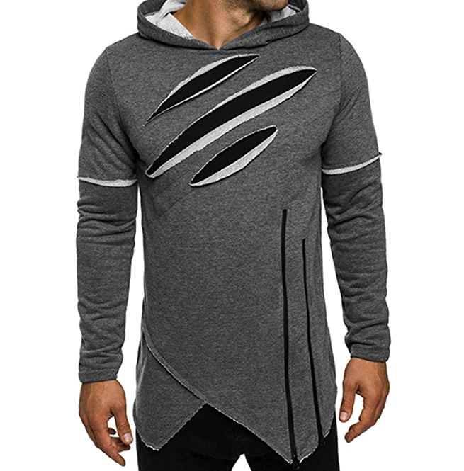 a8ea4900e277 Irregular Zip Distressed Long Hoodies Sweatshirt Men