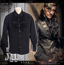 Steampunk Aristocrat Island Explorer Jabot Crease Dress Shirt Jrspm001 B