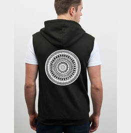 Screen Printed Black Sleeveless Zoodie With Hand Drawn Mandala