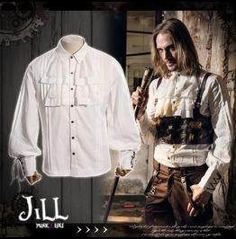 Steampunk Aristocrat Island Explorer Jabot Crease Dress Shirt Jrspm001 W