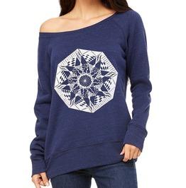 Womens Navy Blue Sweatshirt With White Geometric Screen Print