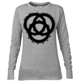 "Womens Light Grey Sweatshirt With ""3 Rings"" Screen Printed In Black Ink"