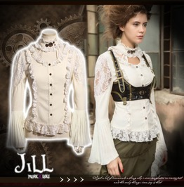 Steampunk Aristocrat Rainsworth Garden Lace Trim Shirt W/ Choker Jrsp175 W