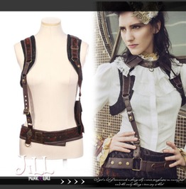 Steampunk Victorian Gentleman Ghost Bolero Vest Suspenders Belt Set Jrsp161