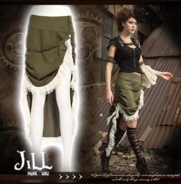Steampunk Victorian Emerald Harbour Dip Hem Military Bustle Skirt Jrsp170