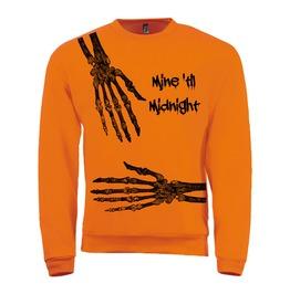 Mens Bright Orange Sweatshirt With Halloween Screen Print In Black Ink