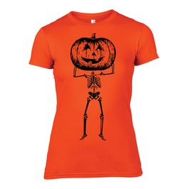 Womens 100% Cotton Halloween T Shirt Screen Printed With Black Ink