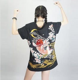Harajuku Japanese Dragon And Koi Embroidery Unisex T Shirt