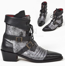 Distressed Silver Leather Vampire Western Ankle Boots 396