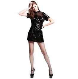 Women's Pu Black Sheer Short Dress
