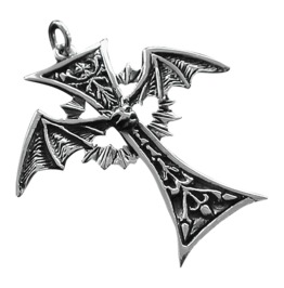 Bat Cross 925 Silver Pendant