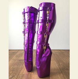 18cm 10 Keys Lockable Beginner Ballet Wedge Heelless Fetish Purple Metallic