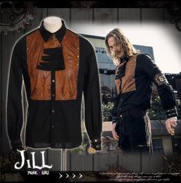 Steampunk Cavalry Pedestrian Leatherette Jabot Dress Shirt Jrspm007