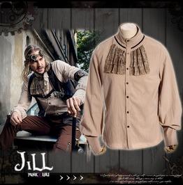 Steampunk Earth Machinist Vintage Look Jabot Dress Shirt Jrspm008