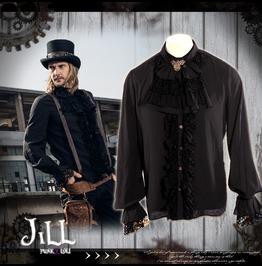 Steampunk Aristocrat Earl Of Misfortune Jabot Crease Dress Shirt Jrspm011 B