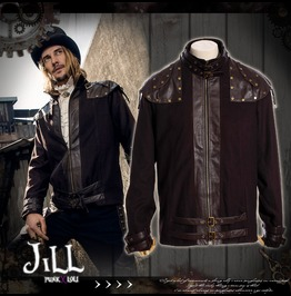 Steampunk Visual Combat Jet Pilot Captain Military Bomber Jacket Jrspm014