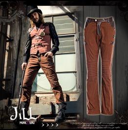 Steampunk Industrial Revolution Engineer Crease Knee Bootcut Pants Jrspm020