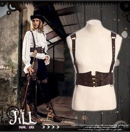 British Steampunk Inspector Corset Straps Suspender Waistcoat Vest Jrspm031