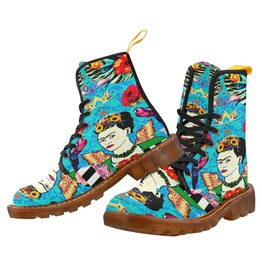 Frida Kahlo With Wings, Flamingos, Parrot, Flowers Blue Damask Combat Boots