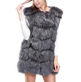 Winter Faux Fur Sleeveless Slim Vest Coat Women