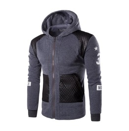 Men's Printed Faux Leather Pocket Colorblock Zipper Hoodies