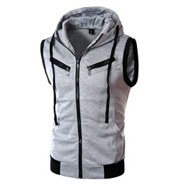 Men's Slim Fitted Contrast Zipper Sleeveless Hoodies Vest