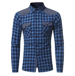 Men's Casual Plaid Colorblock Slim Fitted Shirt