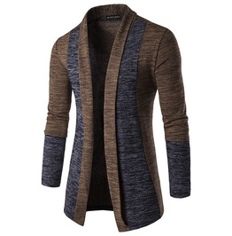 Men's Fashion Shawl Collar Contrast Open Front Longline Cardigan