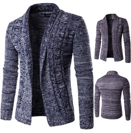 Men's Casual Slim Fitted Heathered Knit Cardigan