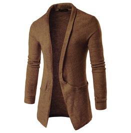 Men's Big Pocket Shawl Collar Knit Longline Cardigan