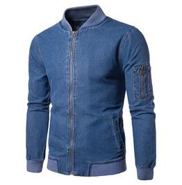Men's Classic Basic Style Zip Up Denim Bomber Jacket