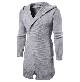 Men's Fashion Slim Fitted Hooded Knit Sweater Cardigan Coat