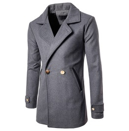 Men's Casual Woolen Lapel Slim Fitted Longline Coat