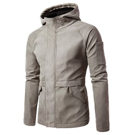 Men's Casual Faux Suede Hooded Zipper Jacket