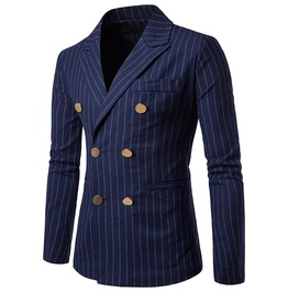 Men's Stripe Printed Double Breasted Suit Jacket