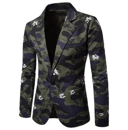 Men's Flower Printed One Button Camouflage Suit Jacket