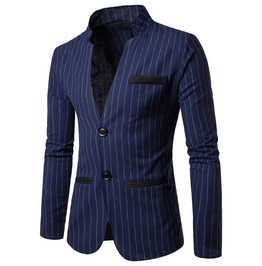 Men's Stripe Printed Stand Collar Slim Fitted Suit Jacket