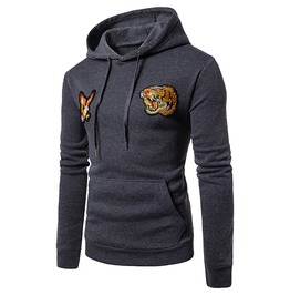 Men's Animal Patch Slim Fitted Winter Hoodies