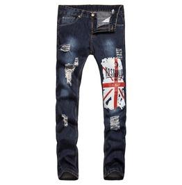 Men's Fashion Printed Distressed Skinny Jeans