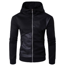 Men's Faux Leather Colorblock Cotton Zipper Hooded Jackets