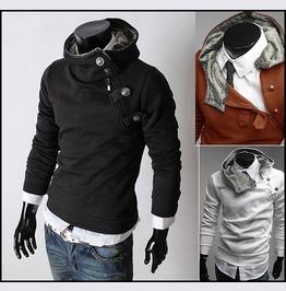 Darksoul Shirt Slim Fit Winter Mens Sweater Hood Brown Jacket Male