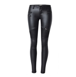 Women's Multi Zipper Stripes Faux Leather Skinny Pants