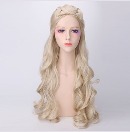 Women's Long Classical Curly Dress Party Wigs Cosplay Wig With Cap Golden