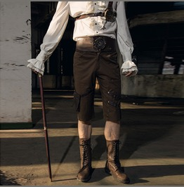 Rq Bl Men's Steampunk Gothic Gear Wide Belt Shorts Pants With Pocket Spm024