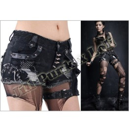 Punk Heavy Rock Amazoness Distressed Mini Hot Jeans W/ Thigh Pouch Jpk127