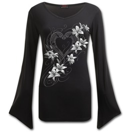 Pure Of Heart V Neck Goth Sleeve Top Black
