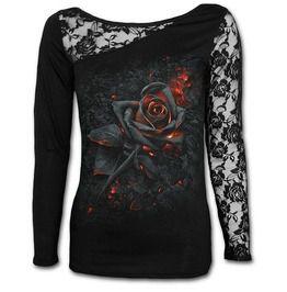 Spiral direct burnt rose lace one shoulder top black standard tops