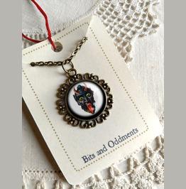 Krampus Necklace Leering Krampus In Ornate Bezel
