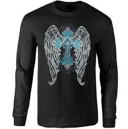 Gray Gothic Angel Wings With Turquoise Cross Long Sleeve T Shirt